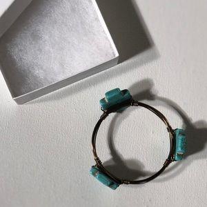Accessories - MARBLE four blue crosses/ gold wire bracelet 🌊 💙